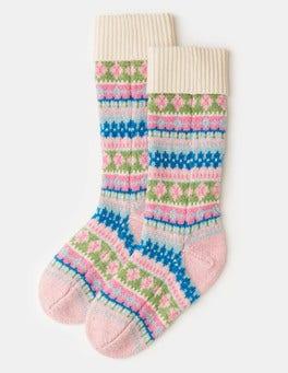 Naturweiß/Bunt Socken mit Fair-Isle-Muster