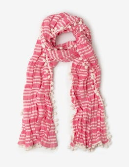 Party Pink Stripe Pompom Linen Scarf