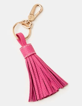 Party Pink Leather Tassel Keyring