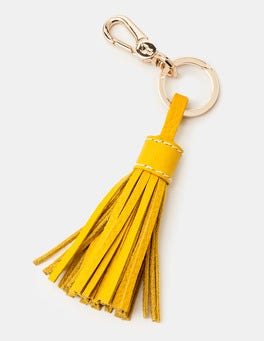 Saffron Leather Tassel Keyring