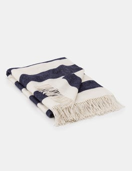 Navy and Ivory Stripe Cosy Highlands Blanket