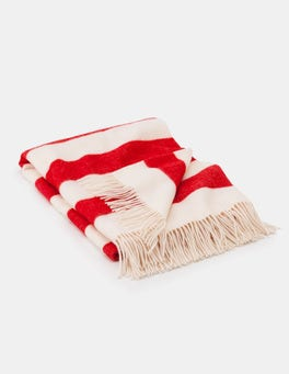 Beatnik Red and Ivory Stripe Cosy Highlands Blanket