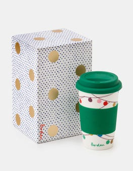 Ivory Multi Christmas Baubles Festive Travel Mug