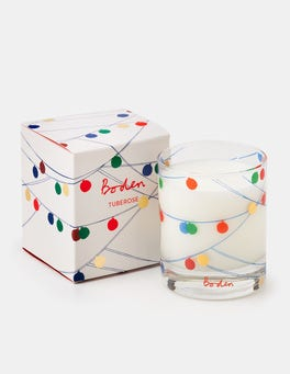Ivory Multi Christmas Baubles Festive Candle