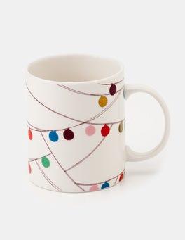 Ivory Multi Christmas Baubles Festive Mug