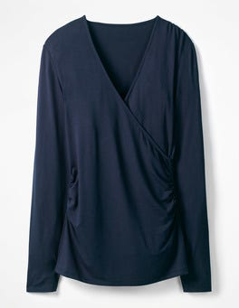 Navy Long Sleeve Wrap Top