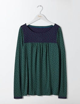Emerald Night Polka Dot Chepstow Jersey Top
