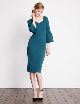 Bleu Canard Intense Robe Betty en point de Rome
