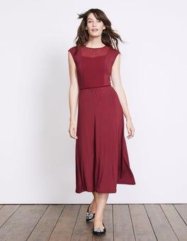 Wine Delilah Jersey Dress
