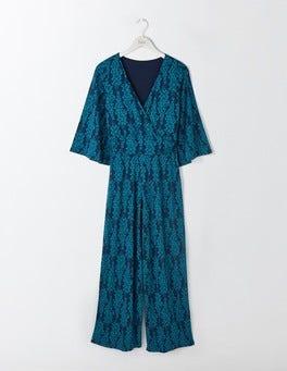 Dark Cyan Wisteria Lorelai Jersey Jumpsuit