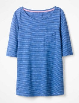 Klein Blue/ Ivory The Cotton Boat Neck Tee