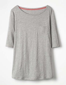 Grey Marl The Cotton Boat Neck Tee