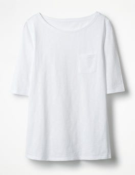 White The Cotton Boat Neck Tee