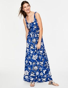Klein Blue Holiday Floral Diana Jersey Maxi Dress