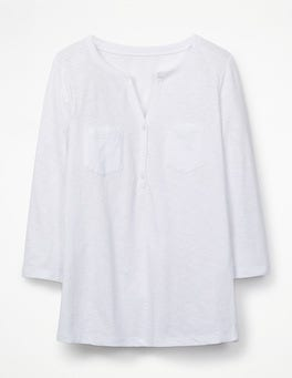 White The Cotton Henley Tee