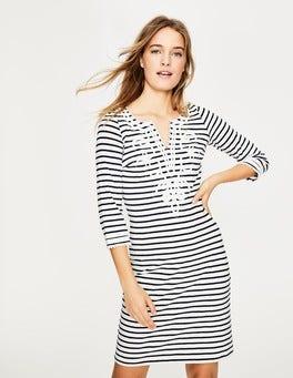 Ivory/Navy Reanna Jersey Dress
