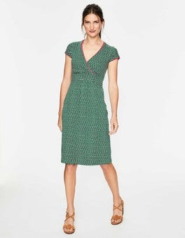 Sap Green Wave Casual Jersey Dress