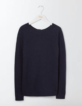Navy Avery Button Back Sweater