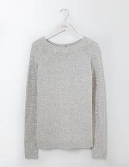 Silver Melange Avery Button Back Sweater