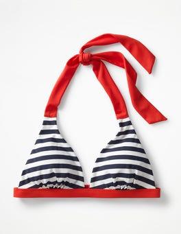 Navy/Ivory Stripe Positano Halter Bikini Top