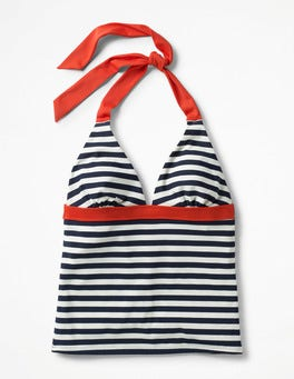 Navy/Ivory Stripe Positano Halter Tankini Top