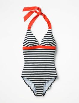 Navy/Ivory Stripe Positano Halter Swimsuit