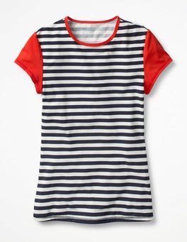 Navy/Ivory Stripe Cap Sleeve Rash Vest