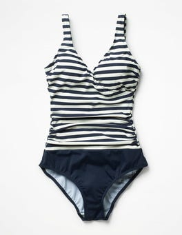 Navy/Ivory Stripe Wrap Front Swimsuit