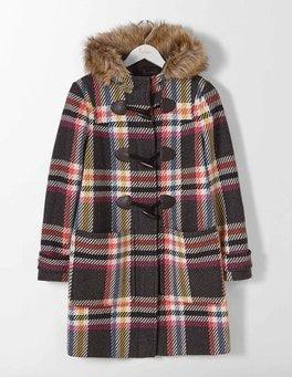 Multi Check Wool Duffle Coat