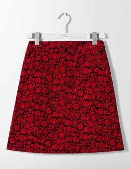 Post Box Red Winter Floral Mimi Velvet Skirt