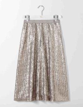 Silver Drapey Sequin Skirt