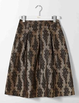 Black and Pewter Jacquard Jacquard Party Skirt