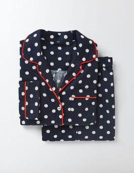 Navy Mid Spot Cosy Woven Pyjamas