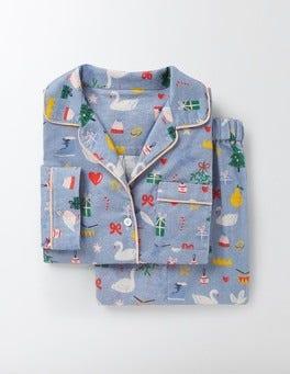 Delph Blue Christmas Cosy Woven Pyjamas