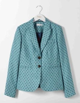Blue and Grey Melange Spot Elizabeth British Tweed Blazer