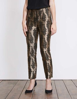 Black and Pewter Jacquard Jacquard Party Trousers