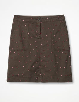 Khaki with Fluro Pink Spot Chino Skirt