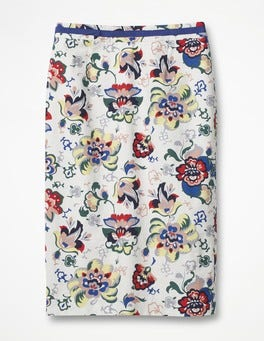 Ivory, Holiday Floral Modern Pencil Skirt