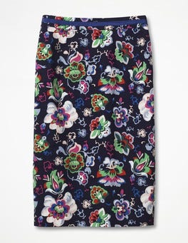 Navy, Multi, Holiday Floral Modern Pencil Skirt