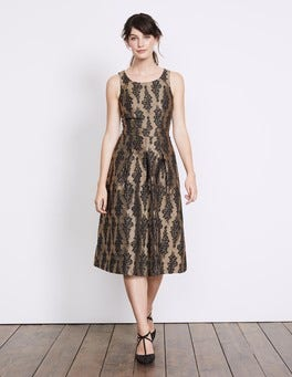 Black and Pewter Jacquard Jacquard Party Dress