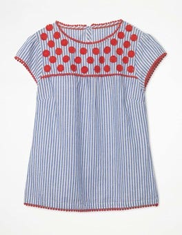 Klein Blue and Ecru Stripe Rosalind Top