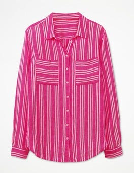 Party Pink and Ecru Stripe The Linen Shirt