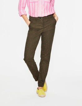 Khaki with Fluro Pink Spot Rachel Chino Trousers