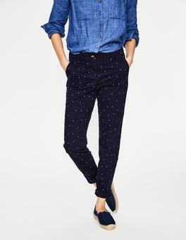 Bleu marine avec pois ciel brumeux Pantalon chino Rachel