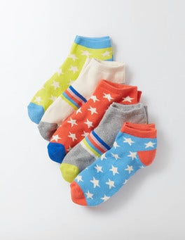 Retro 5 Pack Terry Ankle Socks