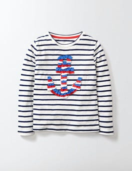 Ivory/Navy Stripe Anchor Sophia T-Shirt