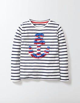 Ivory/Navy Stripe Anchor Sophia T-Shirt