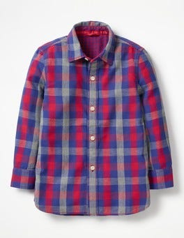 Salsa Red/Grey Marl Gingham Double Cloth Shirt