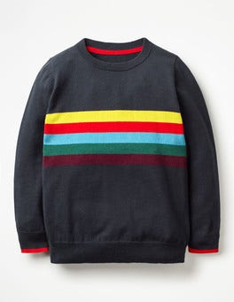 Navy Marl/Rainbow Stripy Crew Jumper