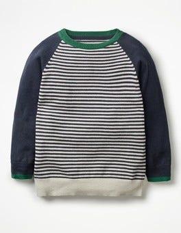 School Navy/Oatmeal Marl Stripy Crew Sweater